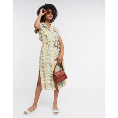グラマラス Glamorous レディース ワンピース ミドル丈 ワンピース・ドレス midi button front dress with tie waist in pastel check