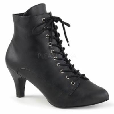 Pleaser プリーザー ショートブーツ ローヒール 大きいサイズ 小さいサイズ 黒 ブラック 合皮 7 cm ヒール 8 cm ヒール レディース メン