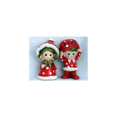 Vintage Inarco Japan Christmas Boy / Girl Pair Red / White Polka Dots ドール 人形 フィギュア