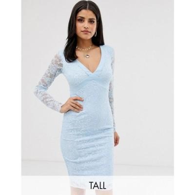 シティゴッデス レディース ワンピース ワンピース・ドレス City Goddess Tall Long Sleeve V Neck Open Back Pencil Dress With Bow Back Pale blue