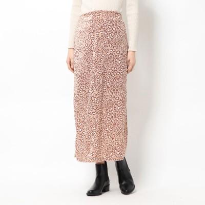 スタイルブロック STYLEBLOCK ベロアレオパードストレートスカート (ライトベージュ)