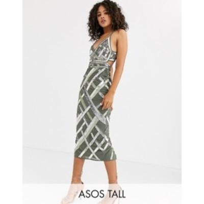 エイソス レディース ワンピース トップス ASOS DESIGN Tall midi pencil dress with cut out and lattice embellishment Khaki