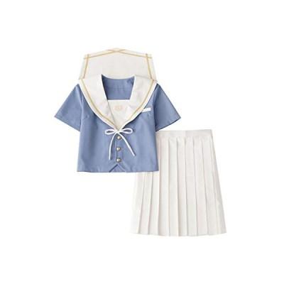 【未来ノ夢】 セーラー服 水色 白いのリボン 白いの襟 白いのスカート 半袖 長袖 大きいサイズ 靴下付属 4点セット (XL 半袖セット)