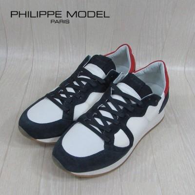 フィリップモデル PHILIPPE MODEL メンズ ローカット スニーカー MVLU / BX02 / ホワイト/ネイビー 白 紺 サイズ:40〜44