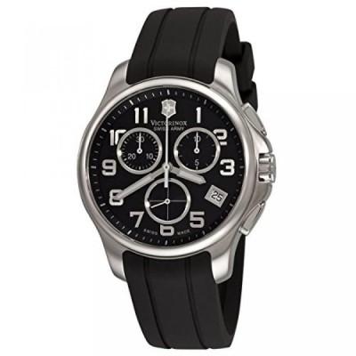 ビクトリノックス 腕時計 メンズウォッチ Victorinox Swiss Army Men's 241452 Officers Chrono Rubber Black Dial Watch