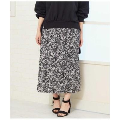 【アウリィ】 花柄クルミボタン付スカート レディース ブラック F AULI