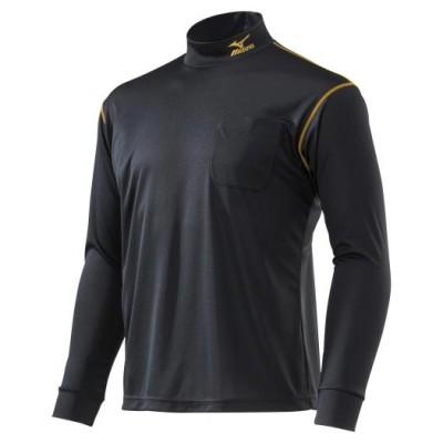 ミズノ メンズ ナビドライワークシャツ長袖(ハイネック)[ユニセックス] 99ブラック×ゴールド L ウエア ハイネックシャツ F2JA0183