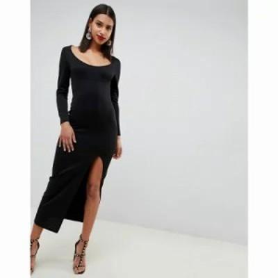 エイソス ワンピース long sleeve scoop neck maxi dress with thigh split Black