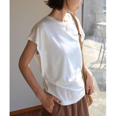 (and Me.../アンドミー)フレンチスリーブ脇見え防止デザインTシャツ/レディース オフホワイト