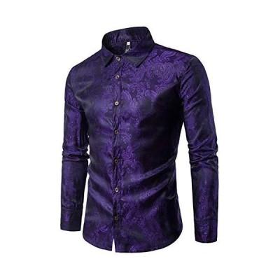 [クープ・ド・クール] きれいめ シャツ メンズ 柄 長袖 個性的 デザイン 派手 カッコいい ワイシャツ お兄系 カッターシャツ (XXL, パープ
