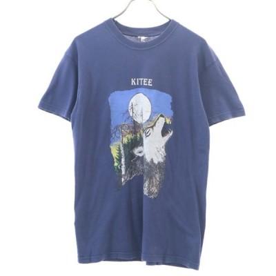 80s 遠吠えプリント 半袖 Tシャツ M ネイビー SCREEN STARS メンズ 古着 200423 メール便可