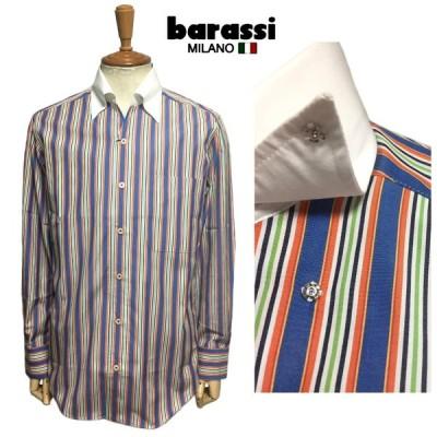 セール barassi バラシ オープンカラー ストライプシャツ