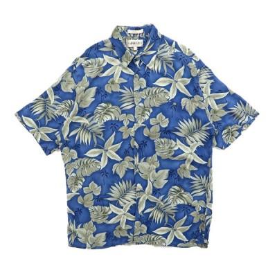 アロハシャツ ハワイアンシャツ リーフ ブルー サイズ表記:L