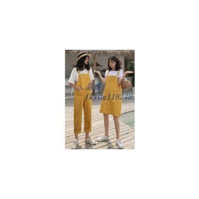 サロペット 夏物 可愛い ガーリー デニムワンピース 膝丈 春物 レディース 無地 ジャンパースカート ロング丈 ワイド デニムパンツ オールインワン
