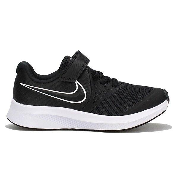 NIKE【AT1801-001】Star Runner 2 中童鞋 慢跑鞋 運動鞋 網布 黏帶 黑白