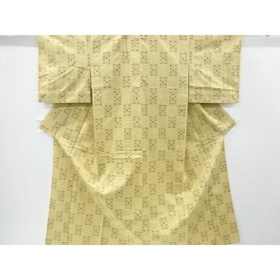 宗sou 幾何学模様織出手織り真綿紬単衣着物【リサイクル】【着】