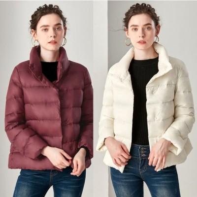 レディース ジャケット 軽量 ウルトラ ライトダウン 羽毛  フェザー アウター無地 ショート丈 可愛い ゆったり 冬  新作 ファッション