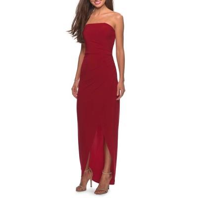 ラフェム レディース ワンピース トップス Strapless High-Low Jersey Gown with Faux-Wrap Skirt
