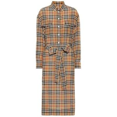 バーバリー Burberry レディース ワンピース シャツワンピース ワンピース・ドレス Check silk shirt dress Archive Beige IP Chk