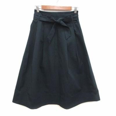 【中古】プラステ PLST フレアスカート ロング ウエストマーク M 紺 ネイビー /KB レディース