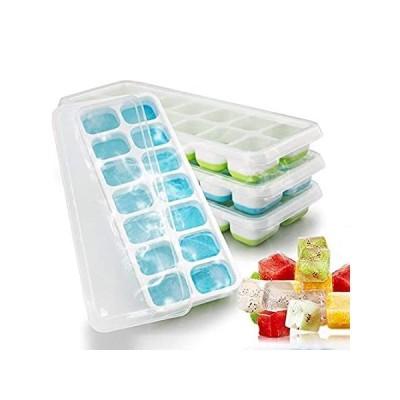 Valporia 4個 アイスキューブトレイ 蓋付き 冷凍庫用アイスキューブ型