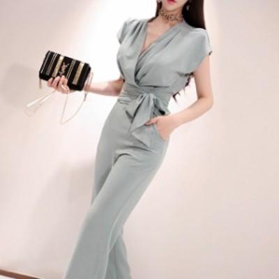 パーティードレス 結婚式 二次会 パンツ 大きいサイズ カシュクール パンツドレス 袖あり 半袖 ウエストリボン ロング 上品