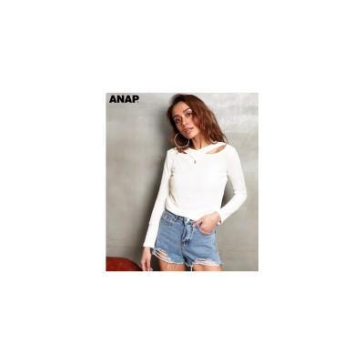 ANAP クロスデザインリブトップス ホワイト