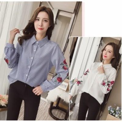 シャツ ブラウス トップス 刺繍 柄入 袖刺繍 袖柄 フロントボタン 袖ボタン 折り襟 大きいサイズ