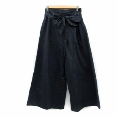 【中古】ロッソ ROSSO アーバンリサーチ パンツ ワイド アンクル丈 リボン付き 36 ネイビー 紺 /MS6 レディース