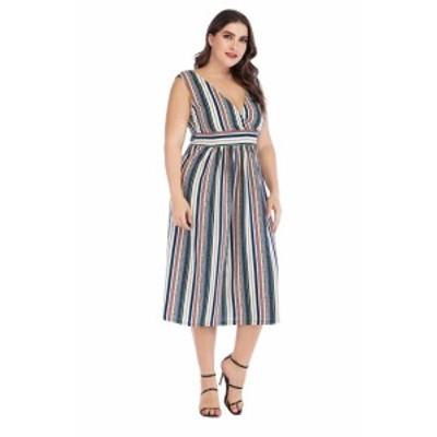 【 XL ~ 5XL 】 送料無料 大きいサイズ レディース 夏 ストライプ ドレス ノースリーブ ミディアム 5l 4l 3l 70528