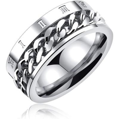 ローマ数字 回転可能なキヘイチェーン デザイン リング K18 PVD加工 ステンレス ジュエリー メンズ 指輪 (ホワイトゴールド, 22号)