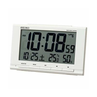 セイコークロック(Seiko Clock) 置き時計 白 本体サイズ:9.1×14.8×4.7cm 目覚まし時計 電波 デジタル カレンダー 温