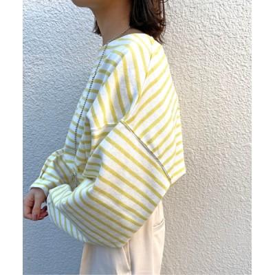 Omekashi / 袖タックボーダーロングTシャツ WOMEN トップス > Tシャツ/カットソー