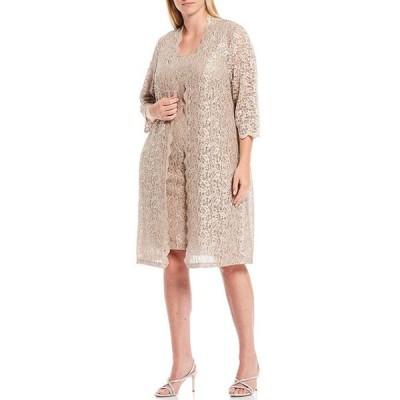 アレックスイブニングス レディース ワンピース トップス Plus Size Scalloped Sequin Lace Jacket Dress