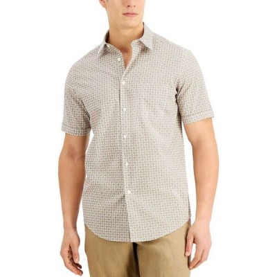 タッソ エルバ Tasso Elba メンズ シャツ トップス Geo Petal Print Shirt Brown Combo