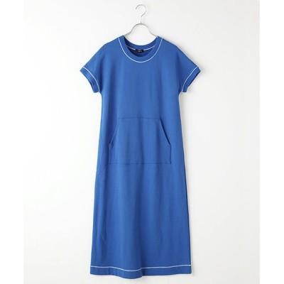 TABASA/タバサ コットン裏毛王冠プリント半袖ワンピース ブルー F