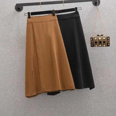 夏新作 予約商品 大きいサイズ レディース ボトムス スカート ひざ下丈 フレアスカート シンプル ゆったり 体型カバー オーバーサイズ 大