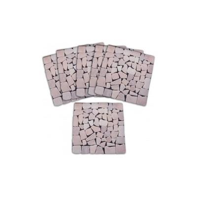 雑草が生えないおしゃれな天然石マット6枚組ピンク 天然石 庭 リフォーム 簡単 アプローチ 玄関 ガーデニング はえない 雑草防止 園芸 カット可 置くだけ 防草