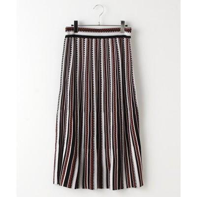 Verseau / ヴェルソー {洗える}幾何学ニットジャガードAラインスカート