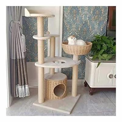 キャットタワー突っ張りタイプ猫タワー 爪とぎ 大型猫タワー豪華なハウス付(中古品)