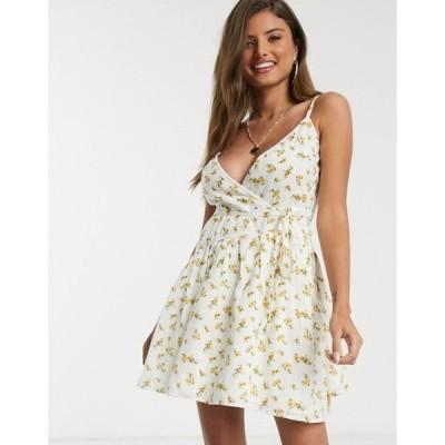 エイソス レディース ワンピース トップス ASOS DESIGN tie wrap around crinkle mini sundress in floral print