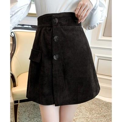 スカート ラップ風 コーデュロイ 台形 ミニスカート
