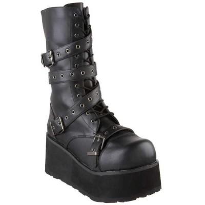 ブーツ シューズ 靴 デモニア DEMONIA メンズ Platform Goth Punk Calf ブーツ ラップ Aラウンド ストラップ TRASHVILLE-205 Blk Pu
