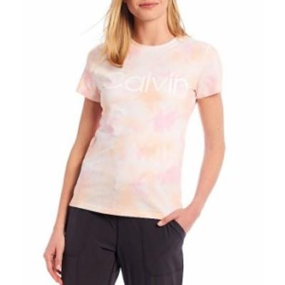 カルバンクライン レディース Tシャツ トップス Performance Calvin Logo Tie Dye Short Sleeve Crew Neck Tee Kensington Peach Kiss