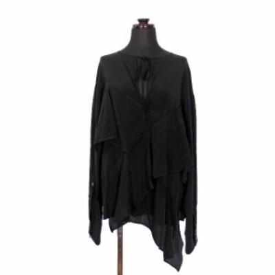 【中古】ヌメロヴェントゥーノ N°21 アシンメトリー シャツ ブラウス 長袖 38 ブラック 黒 SSAW レディース