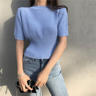 レディースTシャツ 半袖Tシャツ ニット ショート丈 着やせ 優美な フリーサイズ  カットソー半袖