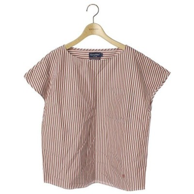 シャツ ブラウス ストライプ柄半袖ブラウス