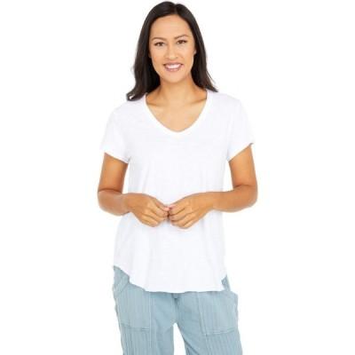 モドオードック Mod-o-doc レディース Tシャツ Vネック トップス Slub Jersey Short Short V-Neck Tee with Curved Hem White