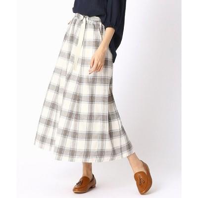 スカート チェック柄 フレアロングスカート