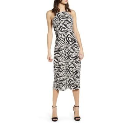ジェイオーエー レディース ワンピース トップス Zebra Print Halter Neck Midi Dress IVORY/BLACK